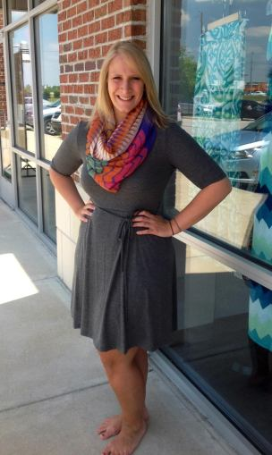 Cute Gray Dress in XL to 3X 32.00 paired with our summer scarf!