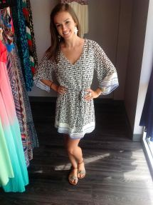 New flowy white and blue dress (42$)