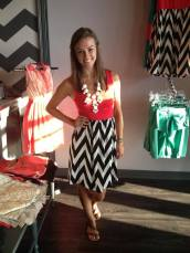 Red Tank Dress with Black and White Chevron 40.00!