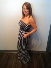 Navy and White Stripped Maxi with pockets 42.00
